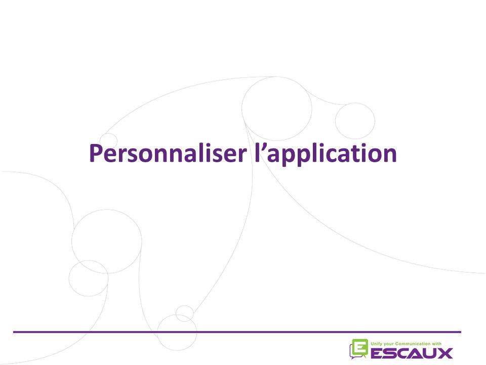 Personnaliser l'application