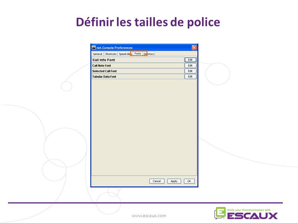 Définir les tailles de police