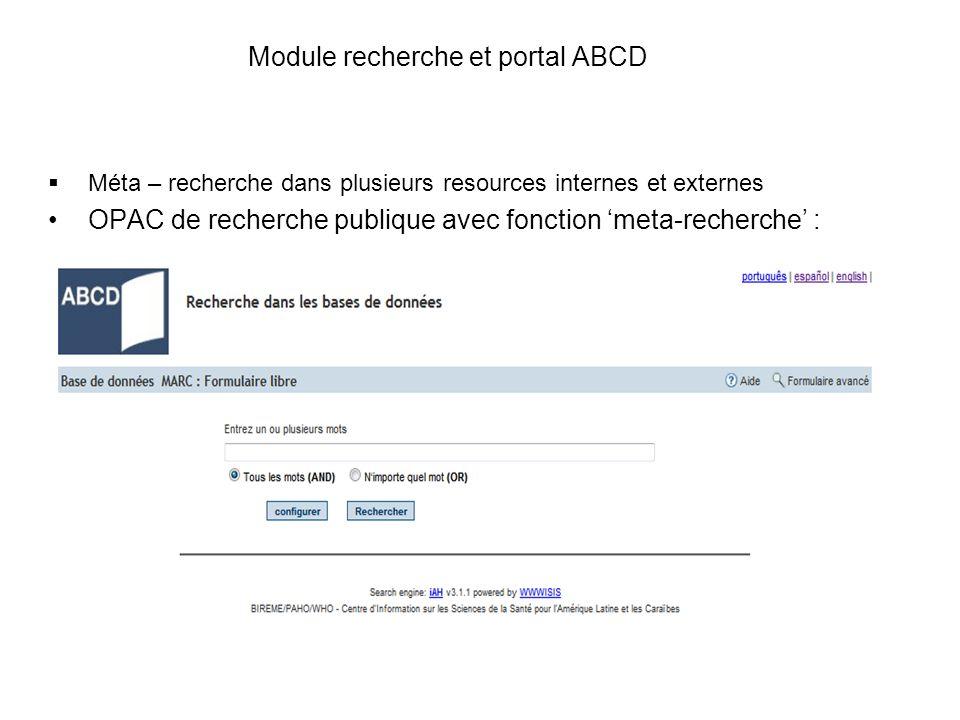 Module recherche et portal ABCD