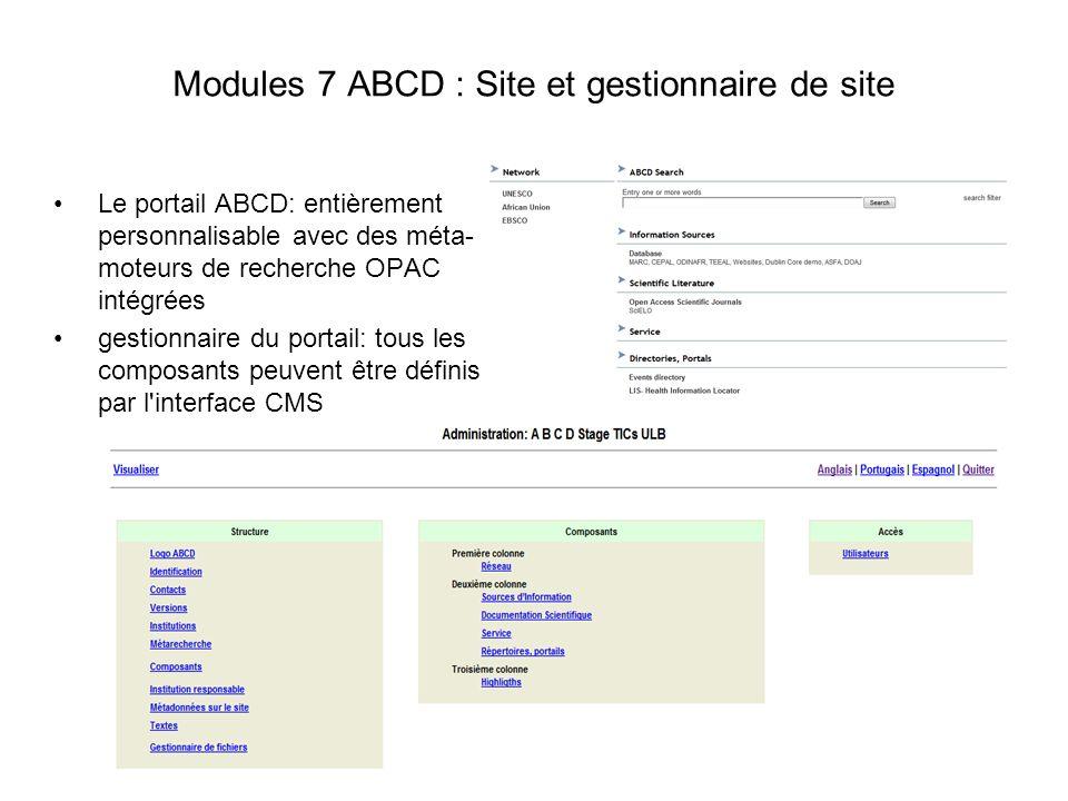 Modules 7 ABCD : Site et gestionnaire de site
