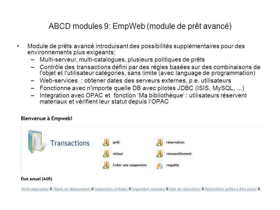 ABCD modules 9: EmpWeb (module de prêt avancé)