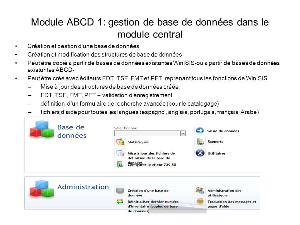 Module ABCD 1: gestion de base de données dans le module central