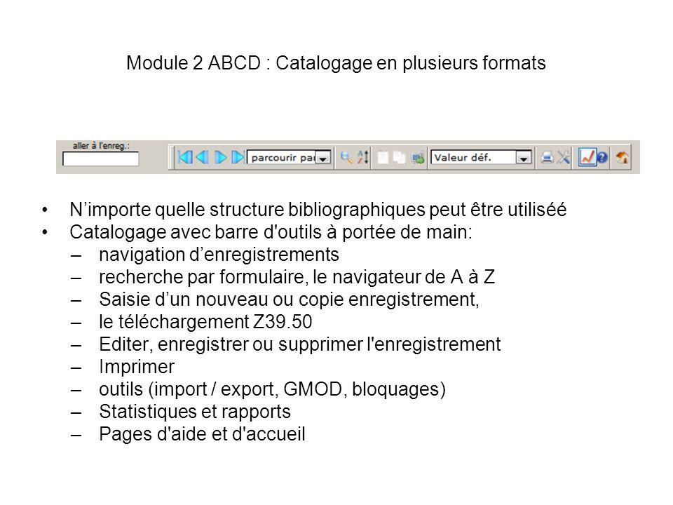 Module 2 ABCD : Catalogage en plusieurs formats