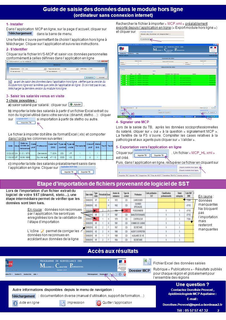 Guide de saisie des données dans le module hors ligne