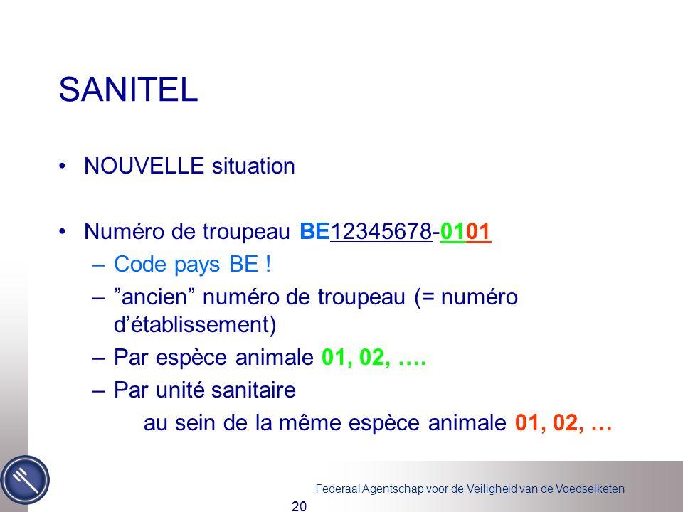 SANITEL NOUVELLE situation Numéro de troupeau BE12345678-0101