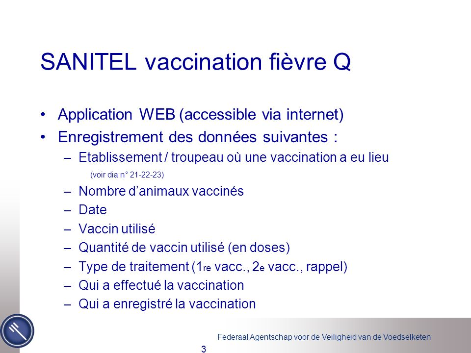 SANITEL vaccination fièvre Q