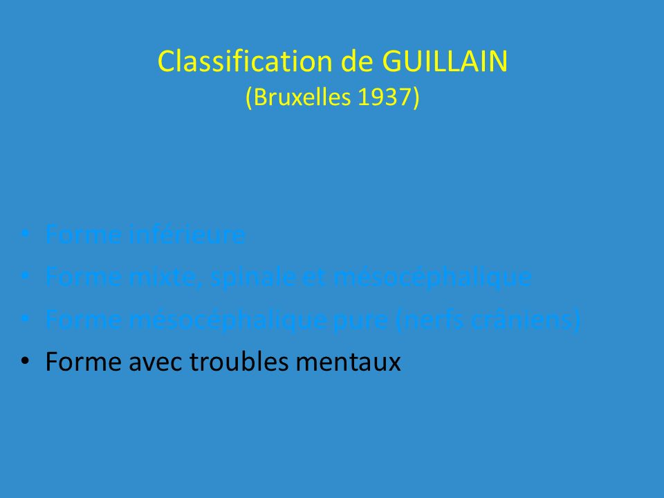 Classification de GUILLAIN (Bruxelles 1937)