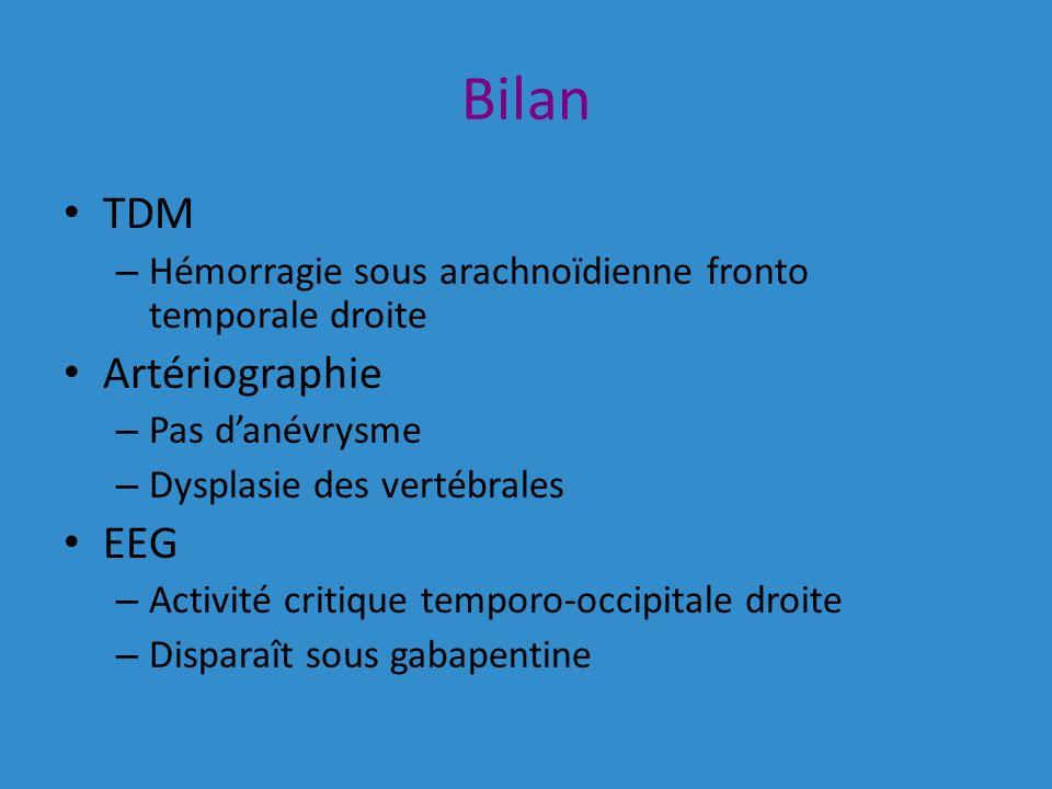 Bilan TDM Artériographie EEG