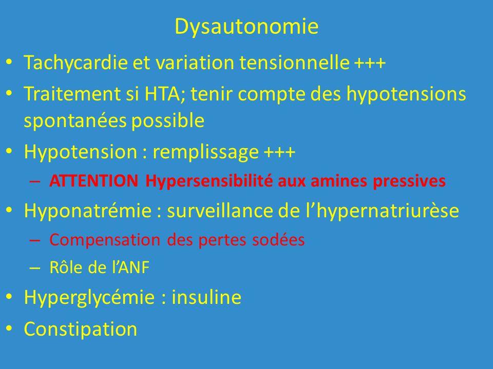 Dysautonomie Tachycardie et variation tensionnelle +++
