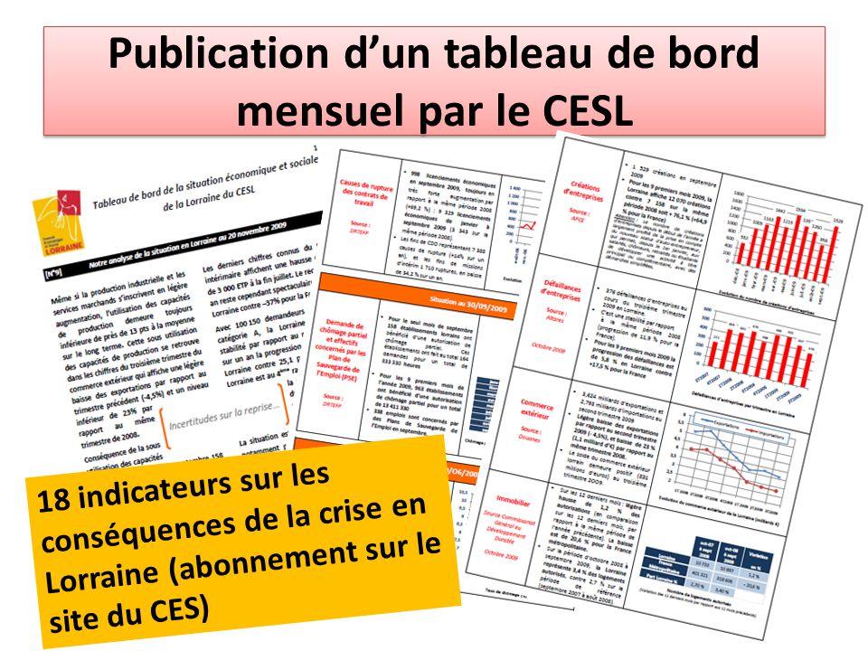 Publication d'un tableau de bord mensuel par le CESL