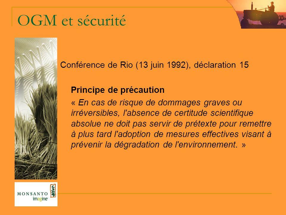 OGM et sécurité Conférence de Rio (13 juin 1992), déclaration 15