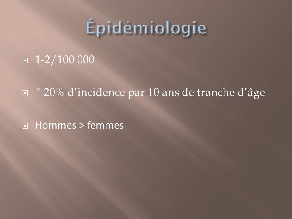 Épidémiologie 1-2/100 000 ↑ 20% d'incidence par 10 ans de tranche d'âge Hommes ˃ femmes