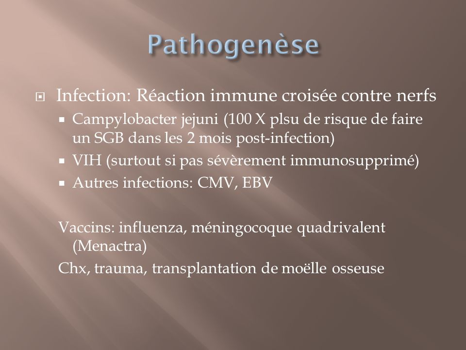 Pathogenèse Infection: Réaction immune croisée contre nerfs