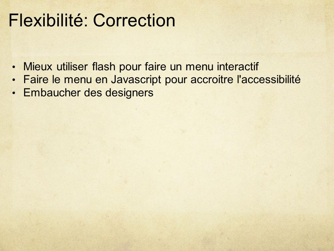 Flexibilité: Correction