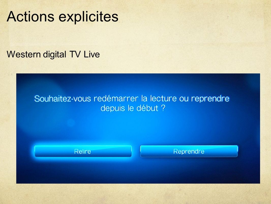 Actions explicites Western digital TV Live