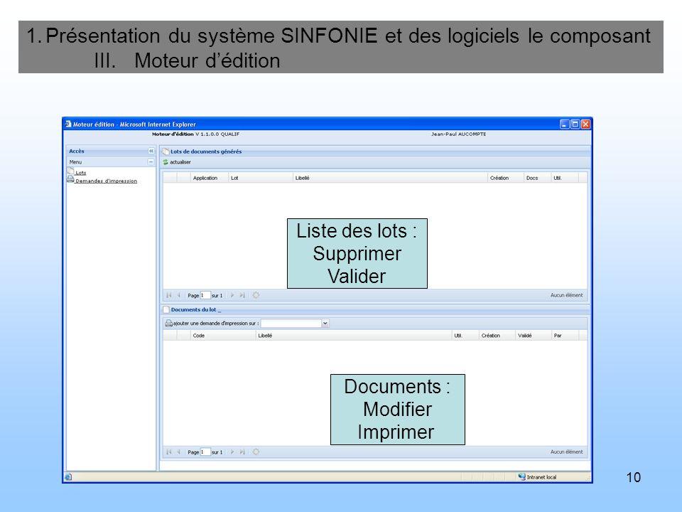 Présentation du système SINFONIE et des logiciels le composant. III