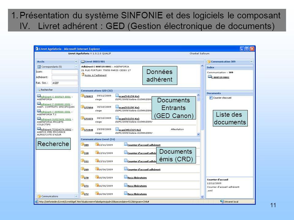 Présentation du système SINFONIE et des logiciels le composant IV