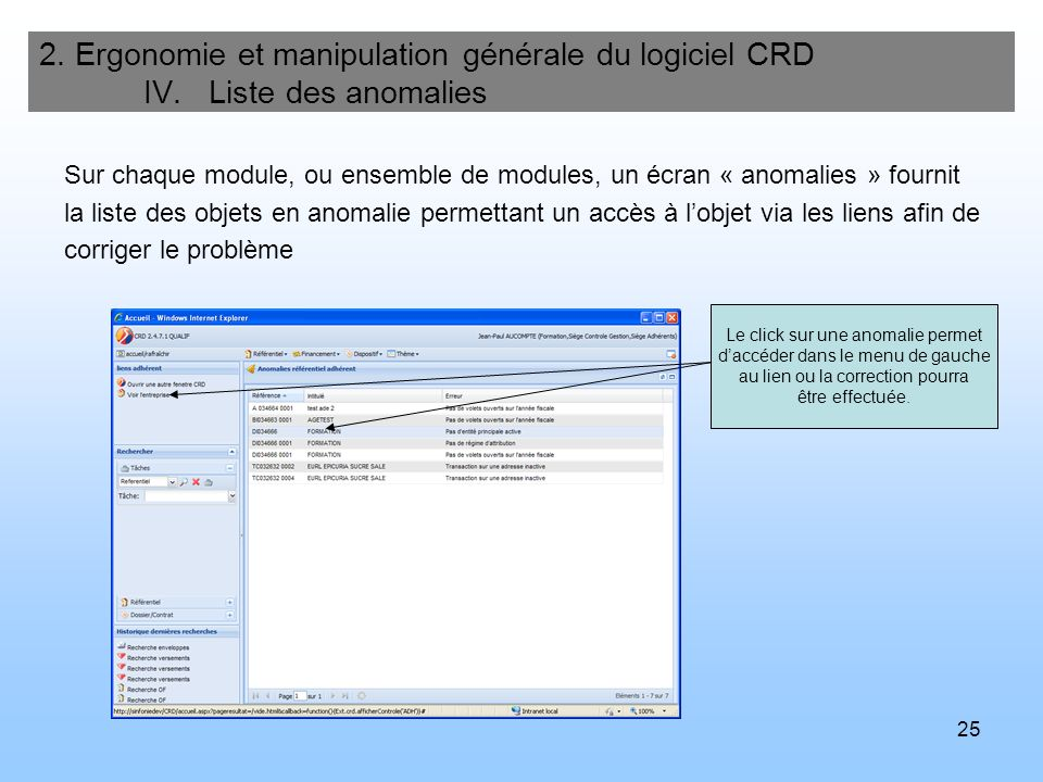 2. Ergonomie et manipulation générale du logiciel CRD IV