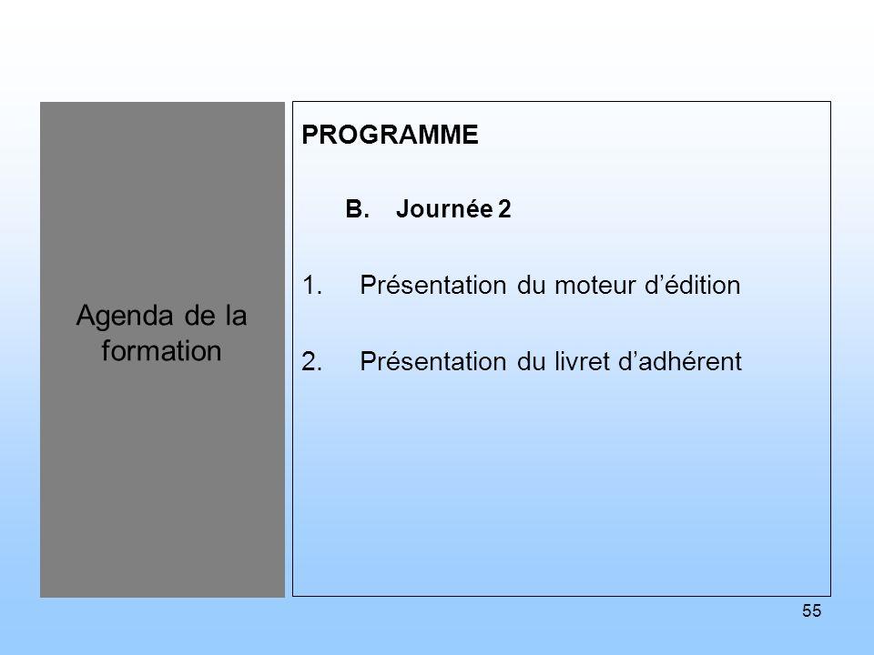 Agenda de la formation PROGRAMME Présentation du moteur d'édition