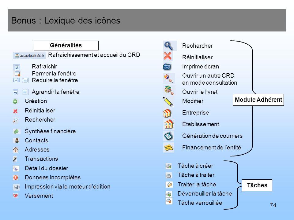 Bonus : Lexique des icônes