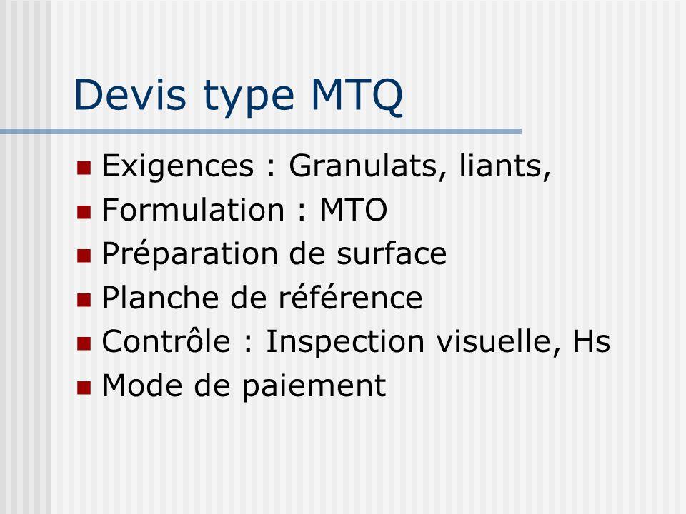 Devis type MTQ Exigences : Granulats, liants, Formulation : MTO