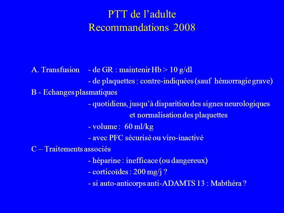 PTT de l'adulte Recommandations 2008