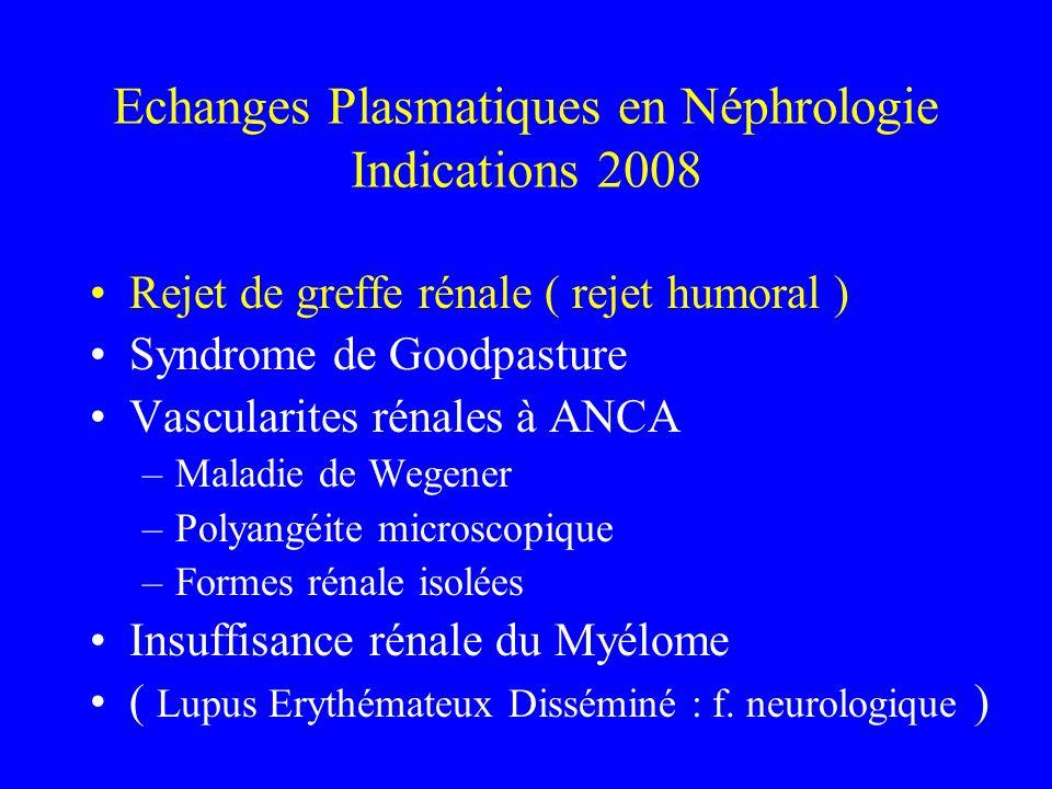 Echanges Plasmatiques en Néphrologie Indications 2008
