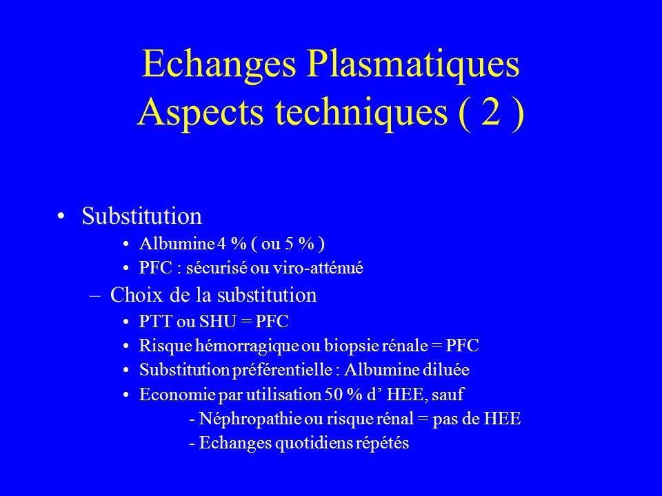 Echanges Plasmatiques Aspects techniques ( 2 )