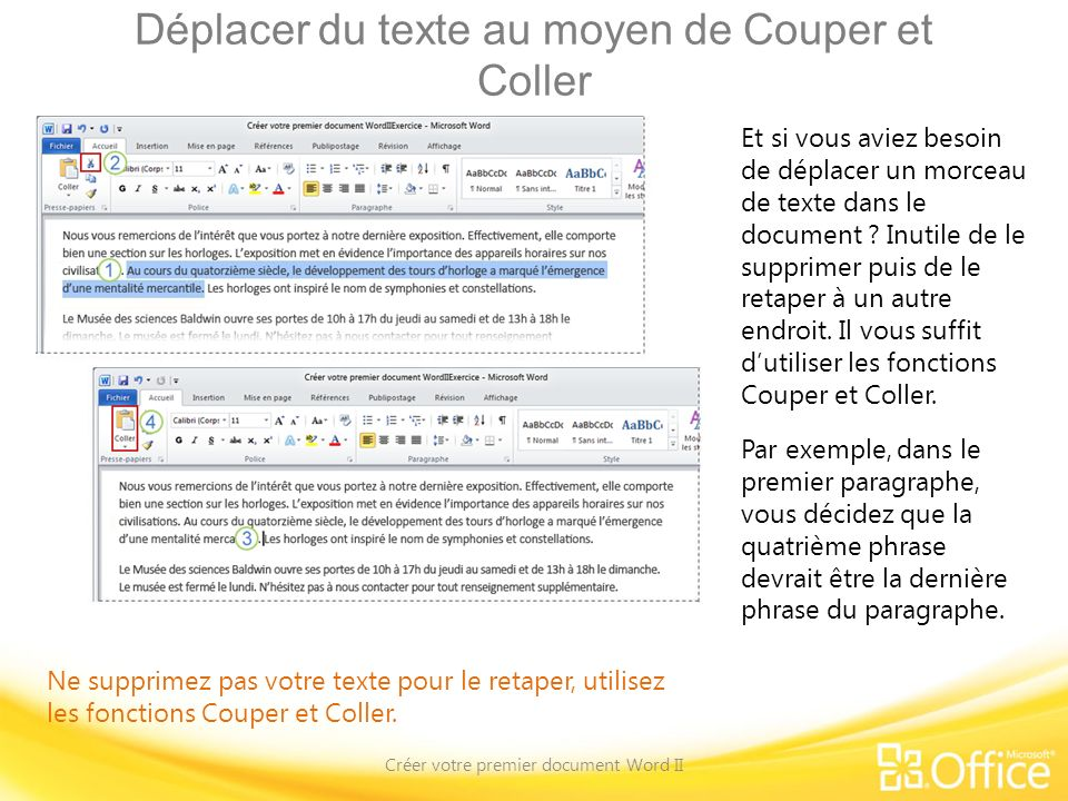 Déplacer du texte au moyen de Couper et Coller