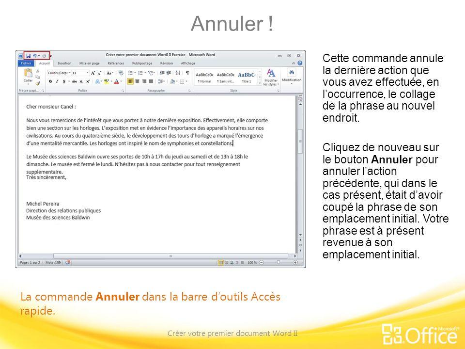 Créer votre premier document Word II