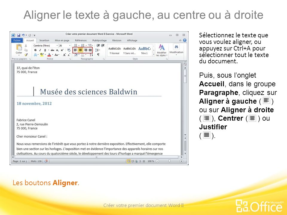 cr u00e9er votre premier document word ii