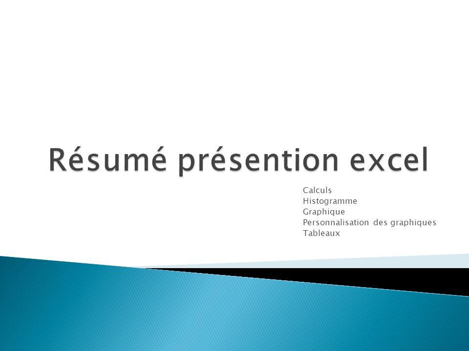 Résumé présention excel