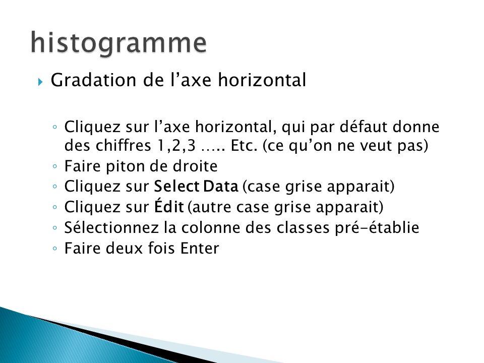 histogramme Gradation de l'axe horizontal