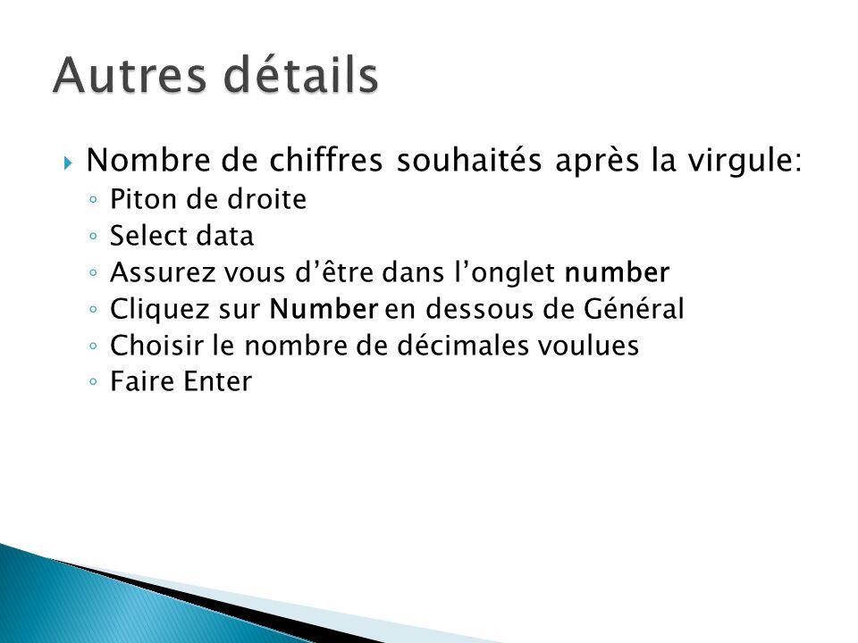 Autres détails Nombre de chiffres souhaités après la virgule: