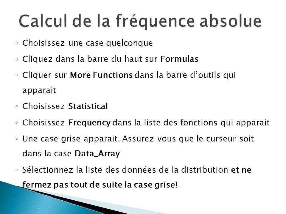 Calcul de la fréquence absolue