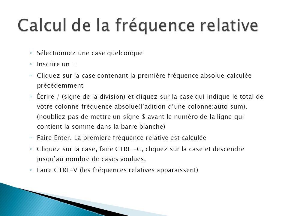 Calcul de la fréquence relative