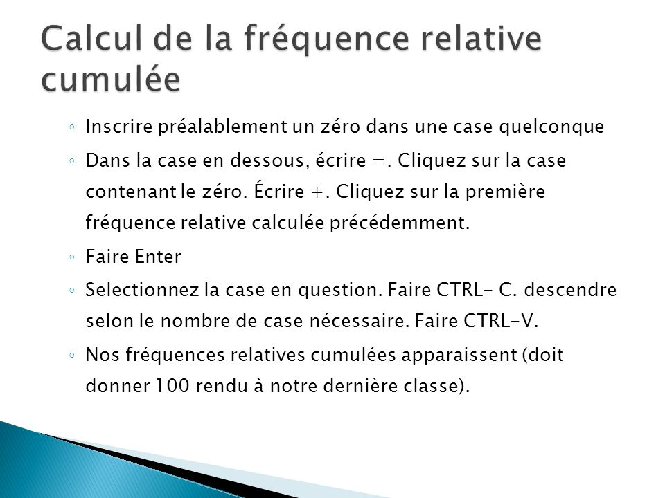 Calcul de la fréquence relative cumulée
