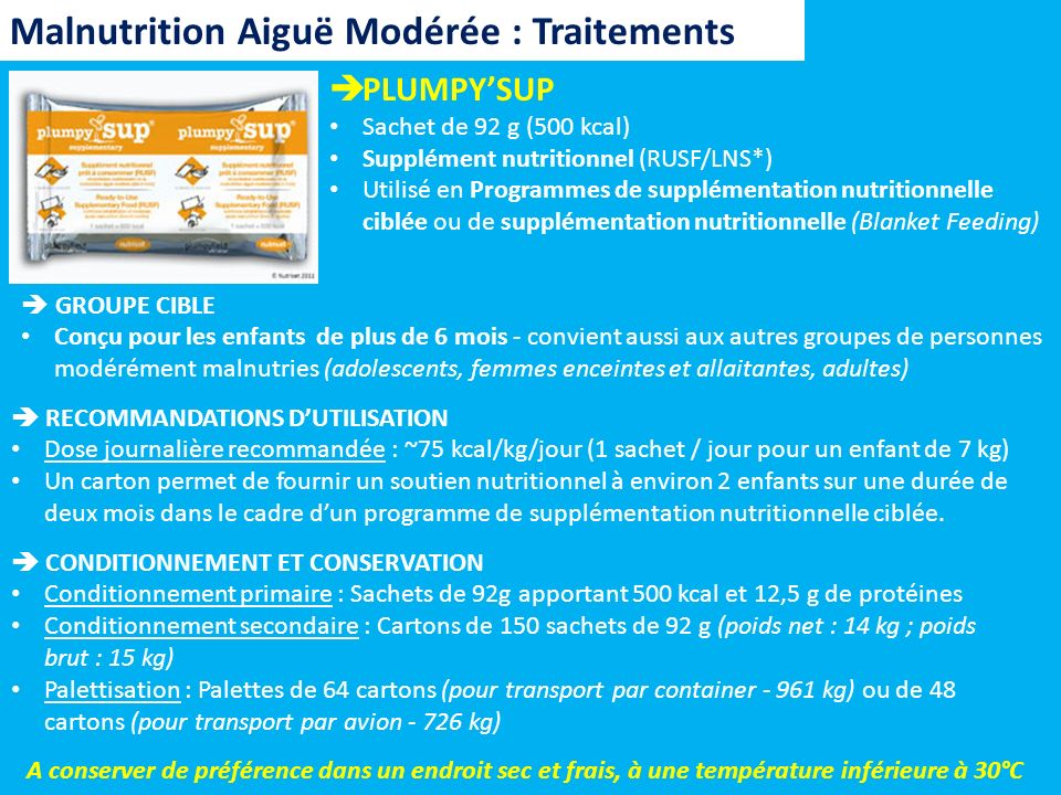 Malnutrition Aiguë Modérée : Traitements