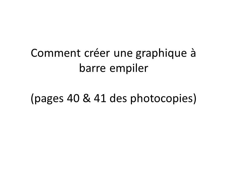 Comment créer une graphique à barre empiler (pages 40 & 41 des photocopies)