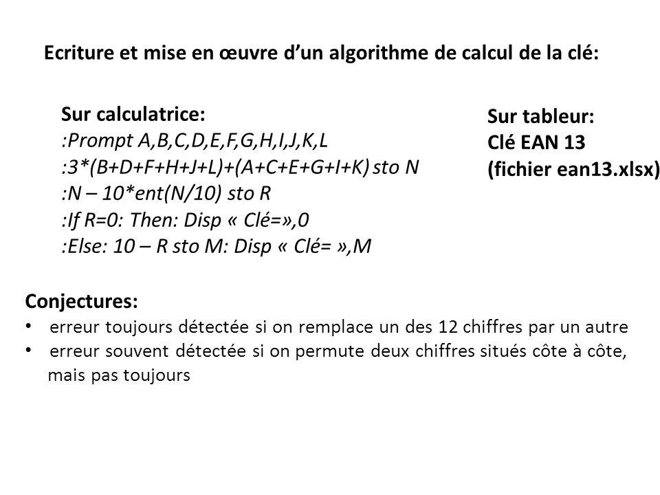 Ecriture et mise en œuvre d'un algorithme de calcul de la clé:
