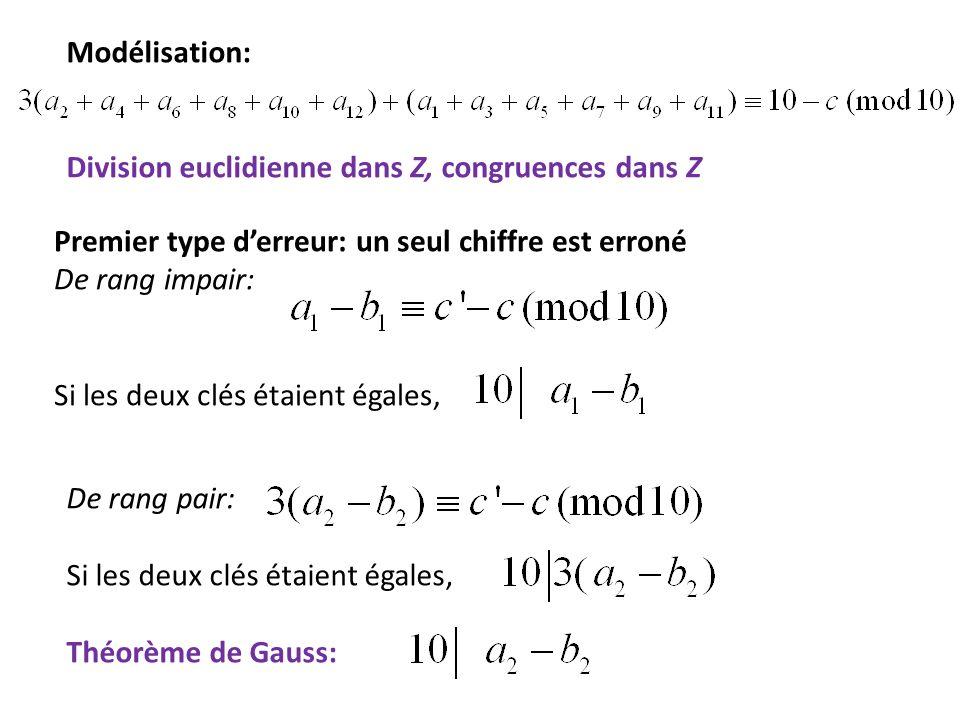 Modélisation: Division euclidienne dans Z, congruences dans Z. Premier type d'erreur: un seul chiffre est erroné.