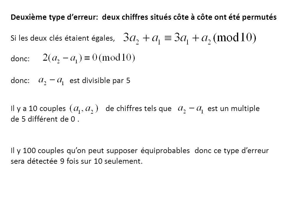 Deuxième type d'erreur: deux chiffres situés côte à côte ont été permutés