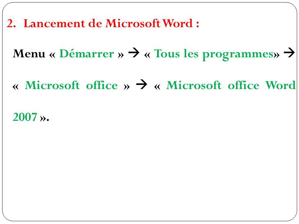 Lancement de Microsoft Word :