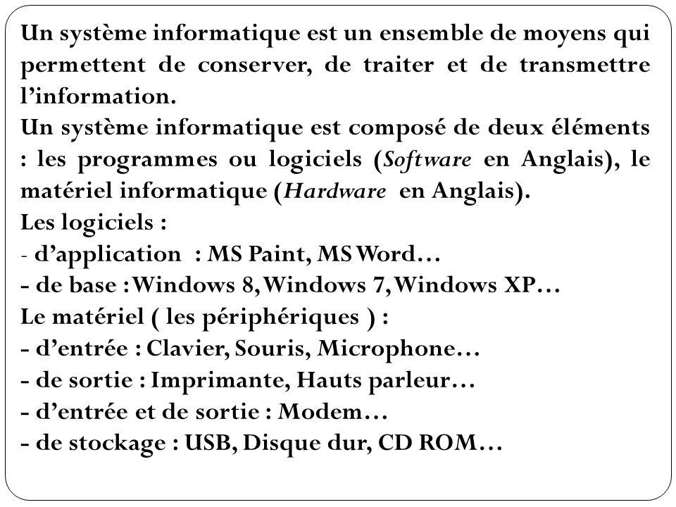 Un système informatique est un ensemble de moyens qui permettent de conserver, de traiter et de transmettre l'information.