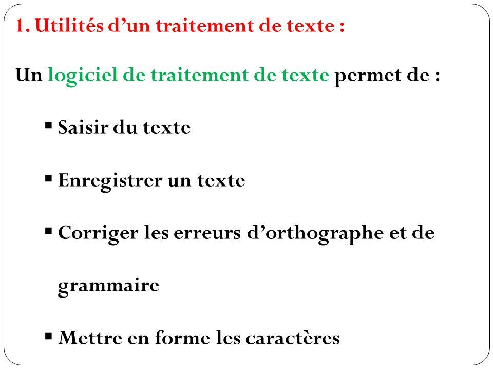 Utilités d'un traitement de texte :