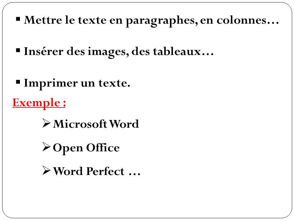 Mettre le texte en paragraphes, en colonnes…