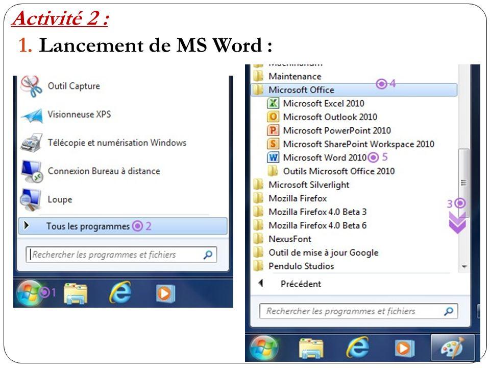 Activité 2 : Lancement de MS Word :