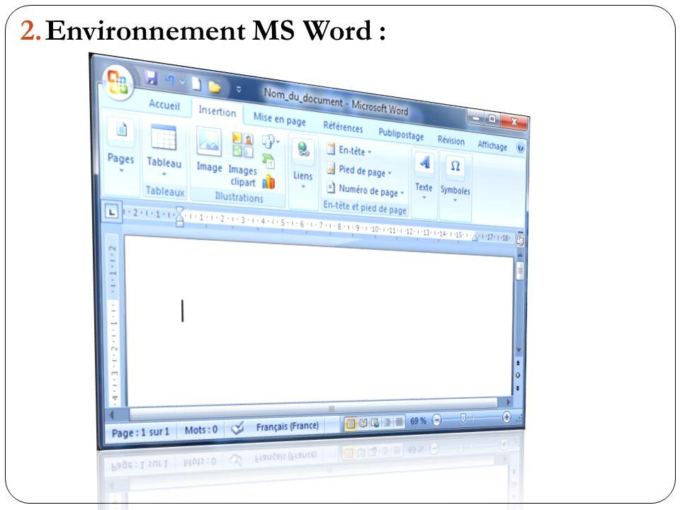 Environnement MS Word :