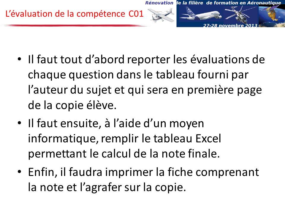 L'évaluation de la compétence C01