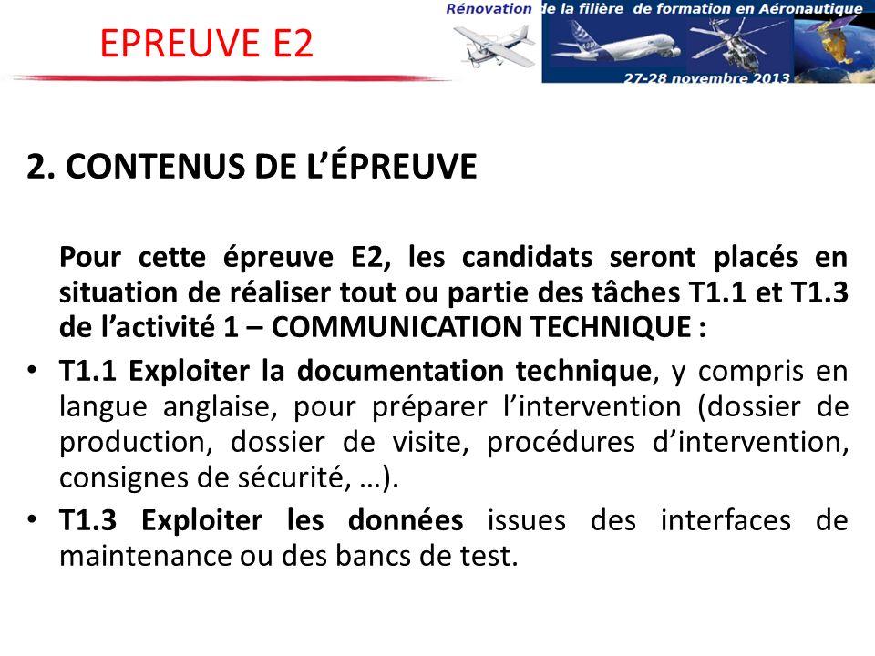 EPREUVE E2 2. CONTENUS DE L'ÉPREUVE